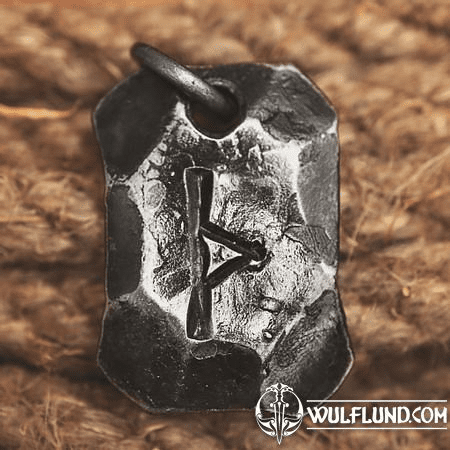THURISAZ, FORGED IRON RUNE PENDANT
