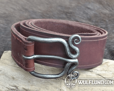 LEATHER BELT WITH SPIRAL FORGED BUCKLE