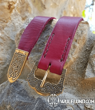 GOKSTAD BELT, RED LEATHER, BRONZE