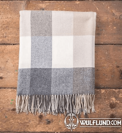 GREY, BONE, WHITE CHECK THROW, LAMBS WOOL BLANKET