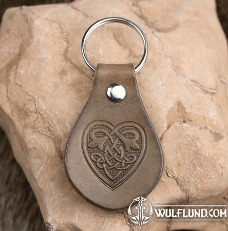 CELTIC HEART LEATHER KEYCHAIN BROWN