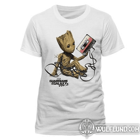 GUARDIANS OF THE GALAXY VOL. 2 - GROOT AND TAPE, UNISEX T-SHIRT - WHITE