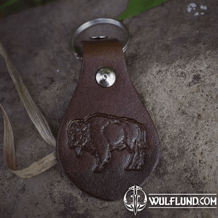 BISON, KEYCHAIN, LEATHER