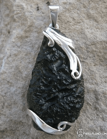 APOLLO, RAW MOLDAVITE PENDANT, STERLING SILVER
