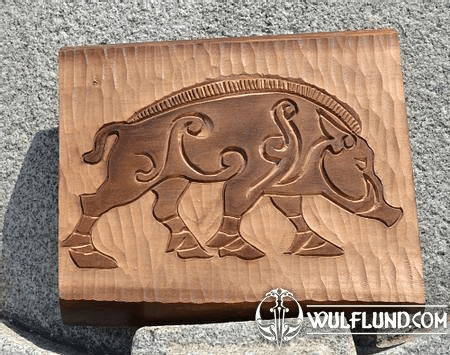 PICTISH BOAR, HAND CARVED WALL PLAQUE