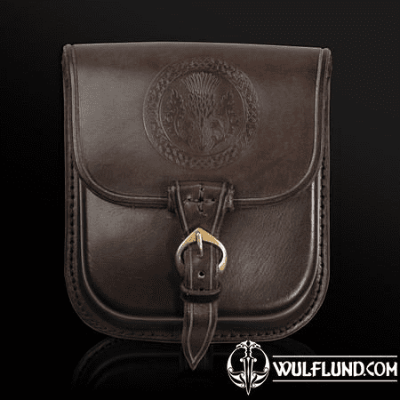 ALBA, SCOTTISH THISTLE, LEATHER BELT BAG - BROWN