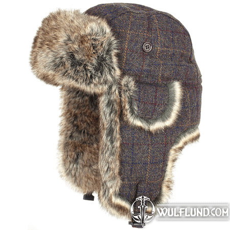 WOOL BLEND TRAPPER HAT BROWN CHECK