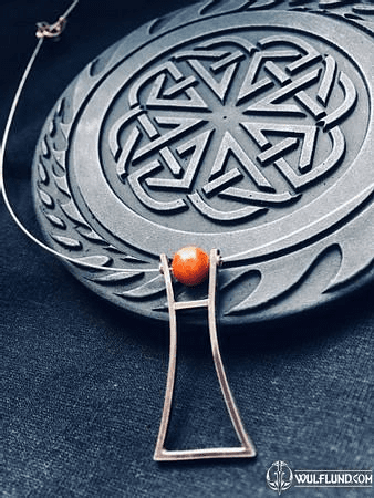 IDOL, MODERN MINIMALISTIC SILVER PENDANT WITH CORAL