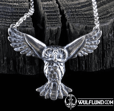 FLYING OWL, SILVER STERLING PENDANT