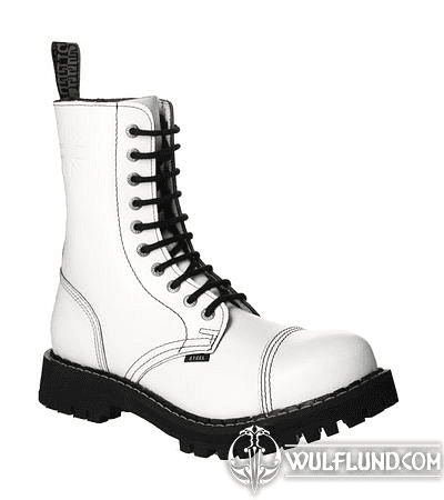 LEATHER BOOTS STEEL WHITE FULL 10-EYELET-SHOES