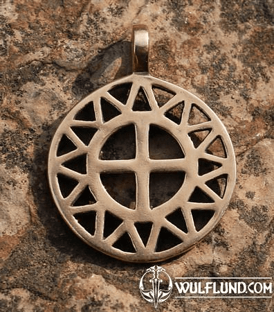 SUN AND CROSS, BRONZE PENDANT