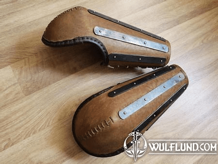 LAMELLAR LEATHER BRACER WITH ELBOW PROTECTION, FOR COMBAT, ONE PIECE