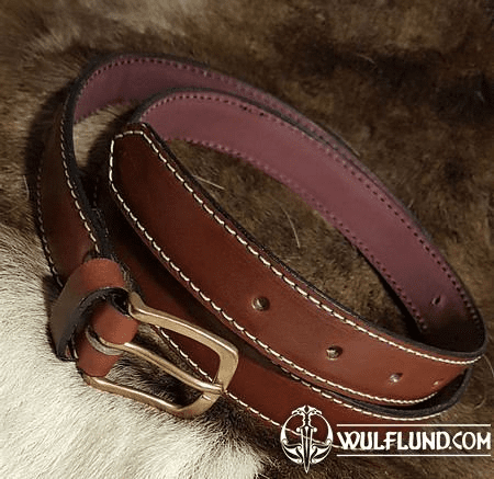 GENTLEMAN, LUXURY LEATHER BELT WITH BRONZE BUCKLE