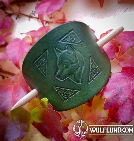 WOLF, LEATHER HAIR CLIP, GREEN