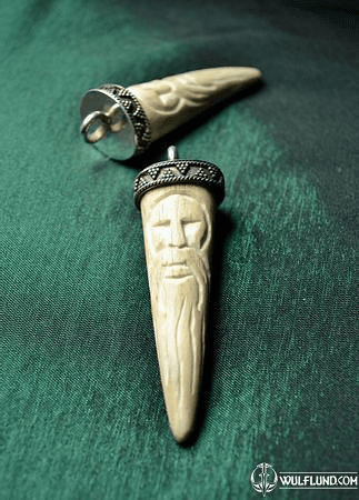 DAZBOG, CARVED SLAVIC AMULET, DEER ANTLER AND SILVER 925