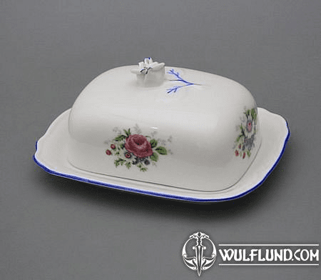 BUTTER DISH WITH A LID, FLOWERS, KARLSBAD PORCELAIN