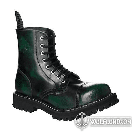 LEATHER BOOTS STEEL GREEN 8-EYELET-SHOES