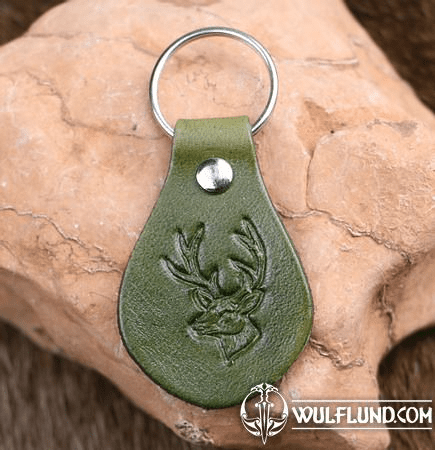 DEER LEATHER KEYCHAIN GREEN