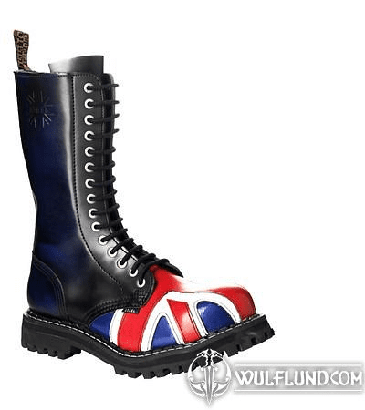 LEATHER BOOTS STEEL BRITISH FLAG 15-EYELET-SHOES