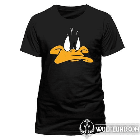 LOONEY TUNES - DAFFY FACE, UNISEX T-SHIRT - BLACK
