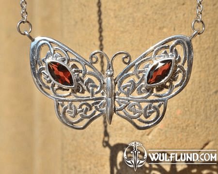 LARGE BUTTERFLY NECKLACE, GARNETS, SILVER 925, 14 G