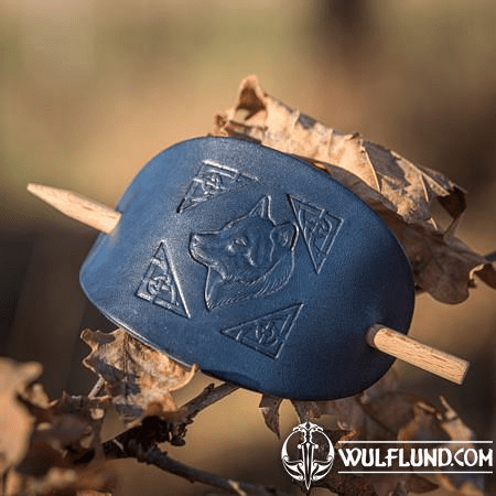 WOLF, LEATHER HAIR CLIP, BLUE