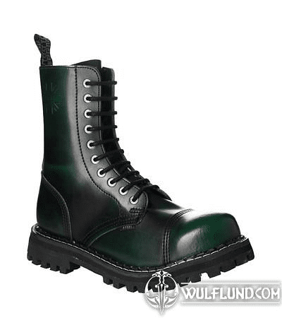 LEATHER BOOTS STEEL GREEN 10-EYELET-SHOES