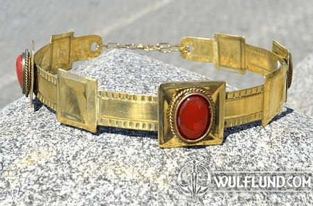 ARTHUR, NOBLE MEDIEVAL BRASS CROWN, RED AGATE
