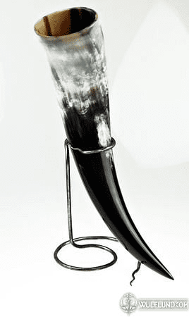 HAND FORGED IRON HORN STAND - SNAKE TAIL SHAPED TIP