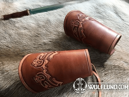 CELTIC CATS, LEATHER BRACERS