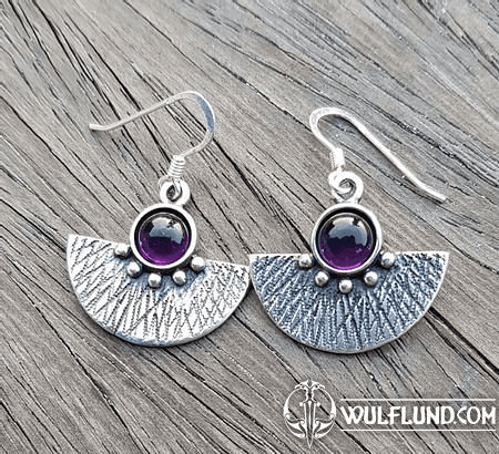 AZTEC, SILVER EARRINGS, AMETHYST