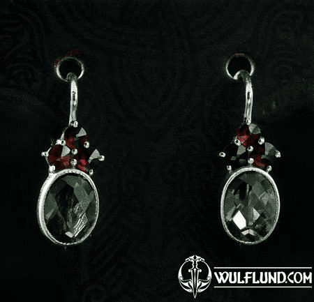 ADORA, SILVER EARRINGS, MOLDAVITE, GARNET
