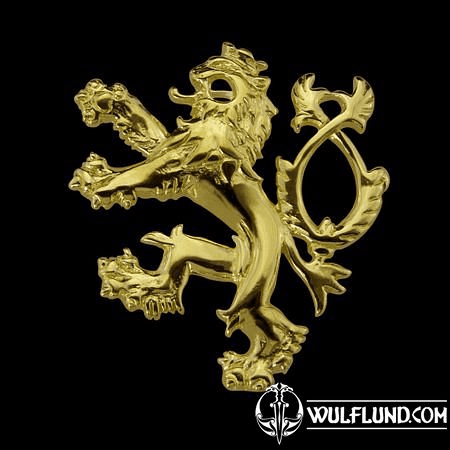 GOLDEN DOUBLE-TAILED LION, SYMBOL OF BOHEMIA, 14K GOLD