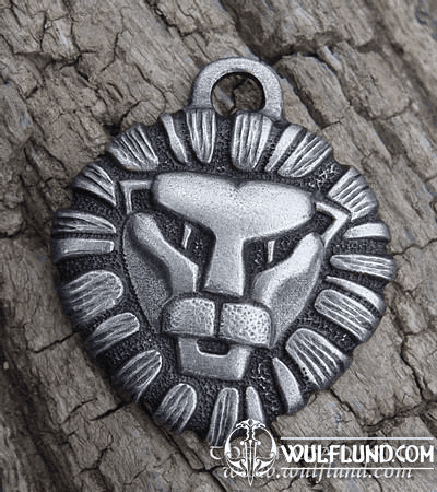 LION HEAD, TIN PENDANT