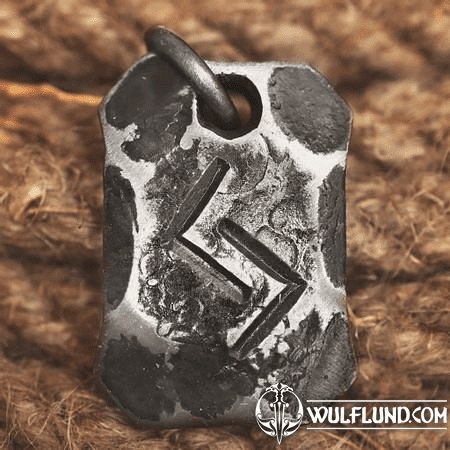 JERA, FORGED IRON RUNE PENDANT