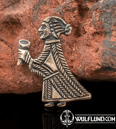 VALKYRIE WITH A HORN, BIRKA, BRONZE PENDANT