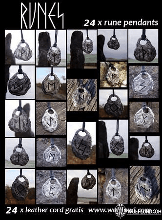 RUNES, WHOLESALE LOT OF 24 PCS WITH LEATHER CORDS