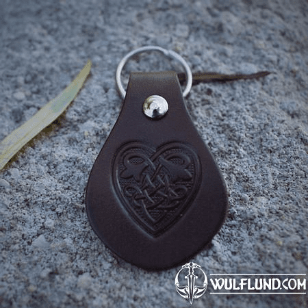 CELTIC HEART, KEYRING, LEATHER, BROWN