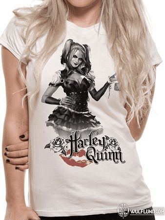 BATMAN ARKHAM KNIGHT - HARLEY QUINN, FITTED T-SHIRT - WHITE