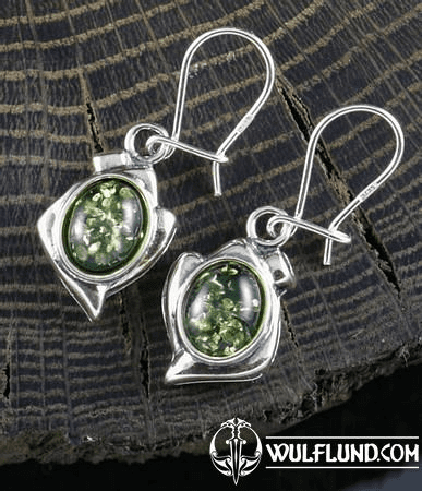 DANICA, GREEN AMBER, EARRINGS, STERLING SILVER