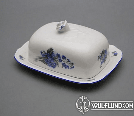 BUTTER DISH WITH A LID, FORGET-ME-NOTS, KARLSBAD PORCELAIN