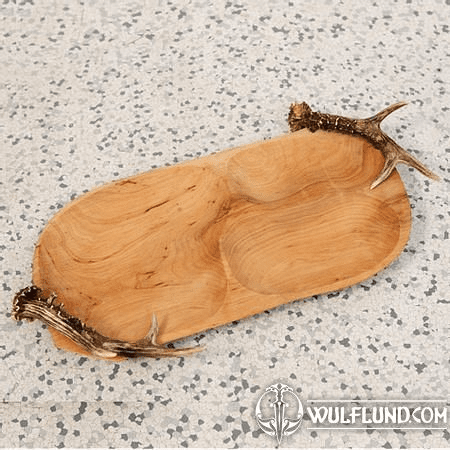 WOODEN DISH WITH ANTLERS
