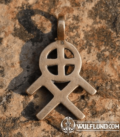 SUN AND HEAVENLY HORSES SYMBOL, BRONZE PENDANT