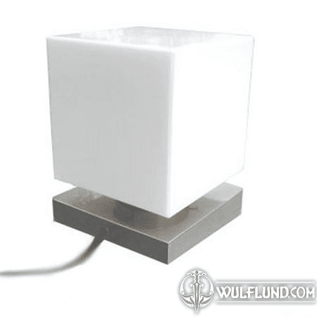 CUBE, TABLE LAMP, MATTE NICKEL STAND, 200 MM