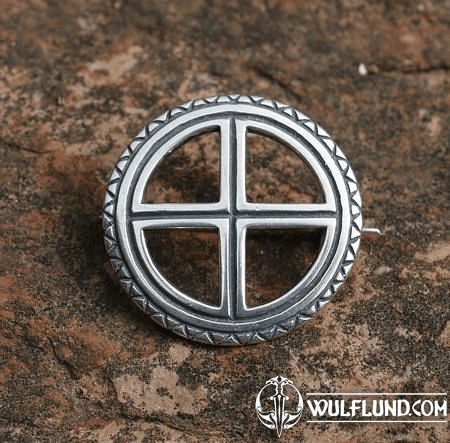 SUN CROSS, SILVER BROOCH
