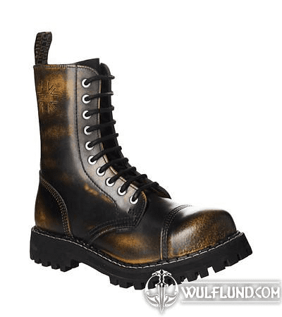 LEATHER BOOTS STEEL YELLOW 10-EYELET-SHOES