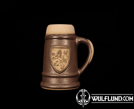 CERAMIC BEER MUG WITH CZECH LION, 0.4 L
