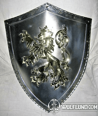 BOHEMIAN COAT OF ARMS, DECORATED SHIELD, IRON AND BRASS