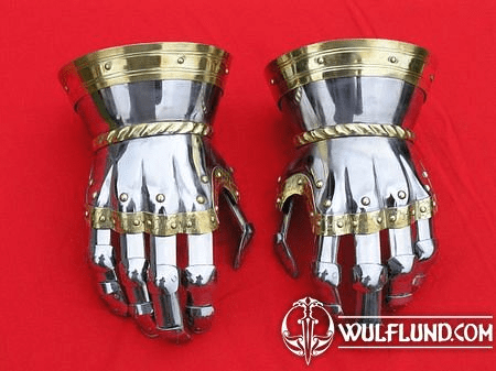 FINGER GAUNTLETS, POLISHED, BRASS