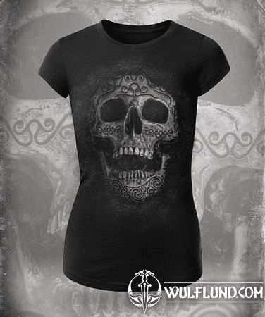 CELTIC SKULL, WOMEN'S T-SHIRT B&W